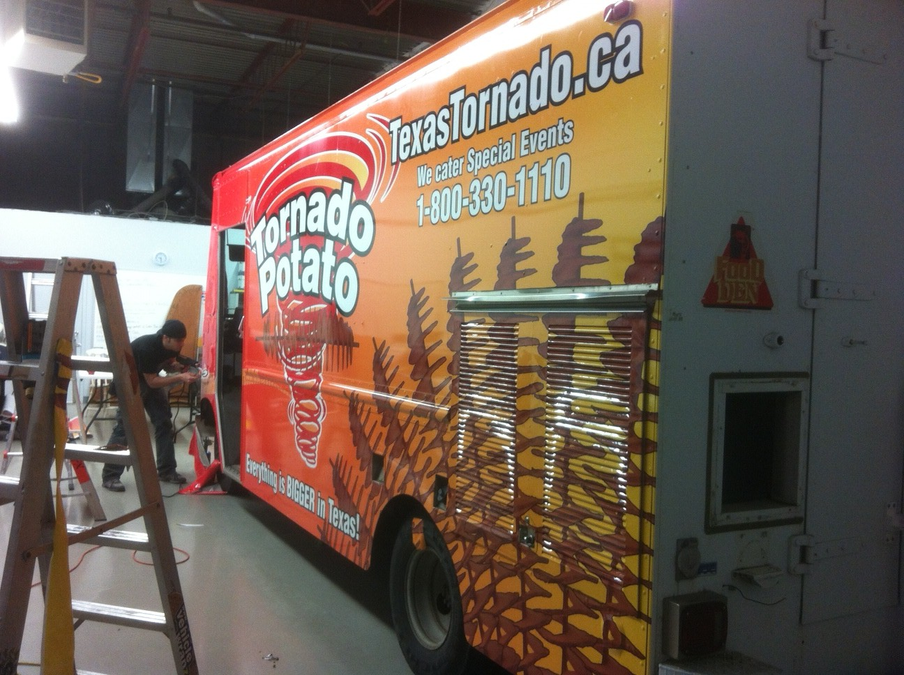 Wrapping the Potato at our new shop with 3M 180 series vinyl wrap