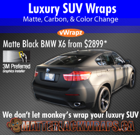 We don't let monkeys touch your luxury suv - vwrapz matte black wraps toronto